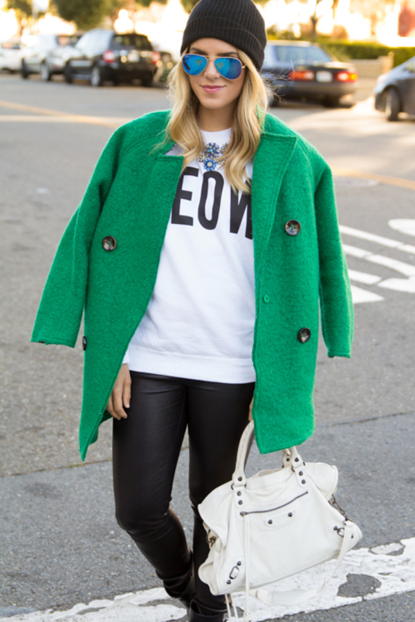 ray ban mirrored aviator sunglasses blue green  gal meets glam coat sweater pants shoes bag sunglasses jewels hat