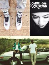 jacket,macklemore,adidas,adidas jacket,turqoise,black,white,comme des fuckdown,hat,beanie,transparent shoes,shoes