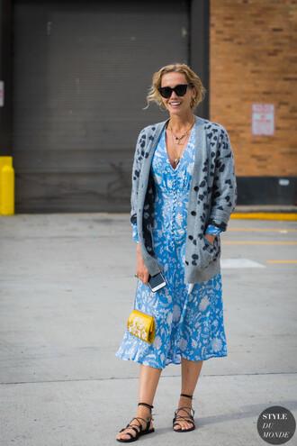 shoes sandals flat sandals black sandals dress blue dress sweater bag sunglasses