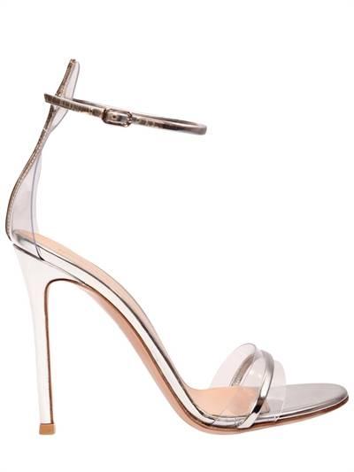 GIANVITO ROSSI, 100mm portofino plexi & leather sandals, Silver, Luisaviaroma
