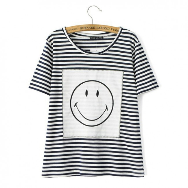 48dd0160a3 Smiley Face Striped Basic T-shirt