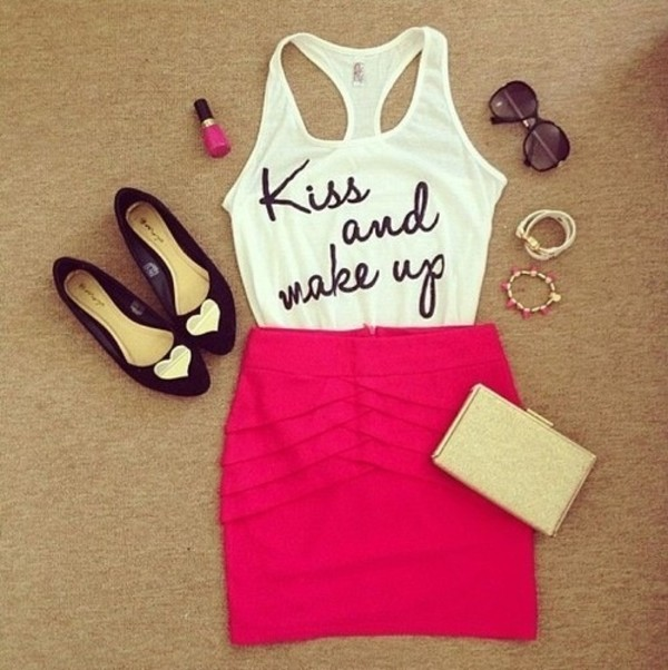 tank top lovely love quotes blouse white kiss skirt pink cute love shoes black heart bracelets fashion beige jewerly clutch shirt pink skirt sunglasses pink by victorias secret