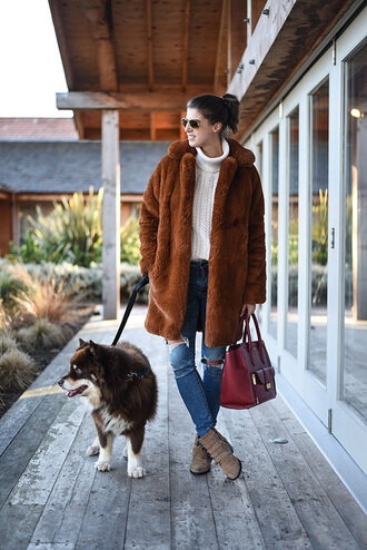 thank fifi blogger coat sweater jeans shoes bag faux fur coat handbag ankle boots turtleneck sweater winter outfits