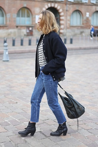 jane's sneak peak blogger jacket striped top cropped jeans shoulder bag bomber jacket black leather bag black boots