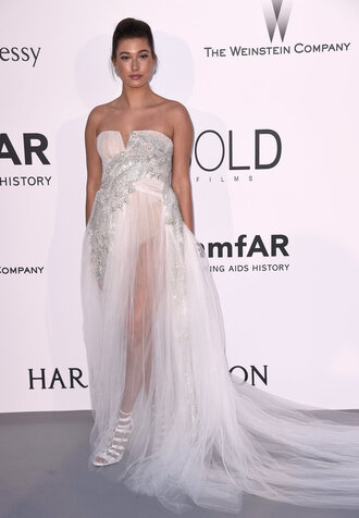 dress gown strapless bustier hailey baldwin sheer cannes bustier dress prom dress