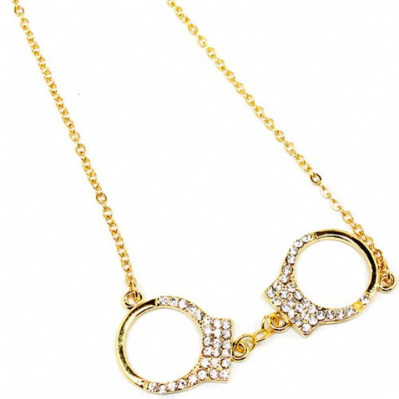 studs gold jewels cute necklace handcuffs