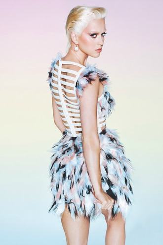 dress katy perry feathers editorial