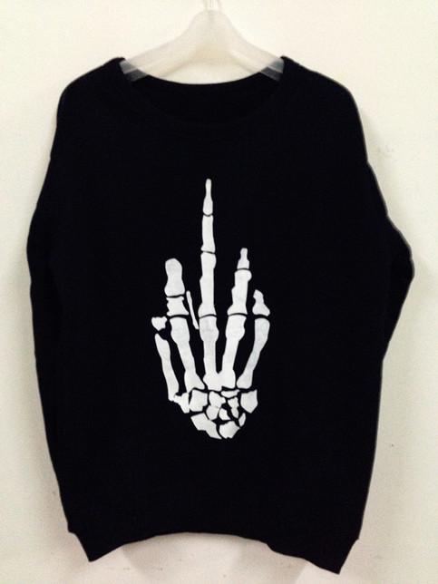 Black middle finger skeleton hand sweater from jinx me on storenvy