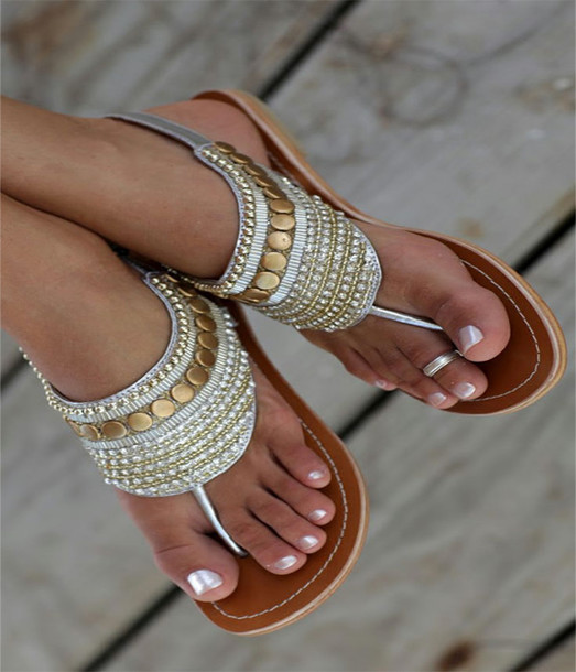 shoes sandals brilliant flat gold silver gypsy indian