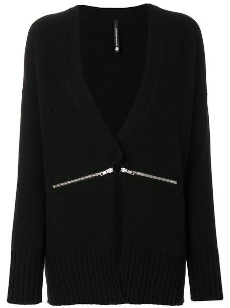 Pierantoniogaspari - zipped detail cardigan - women - Cashmere/Virgin Wool - 44, Black, Cashmere/Virgin Wool