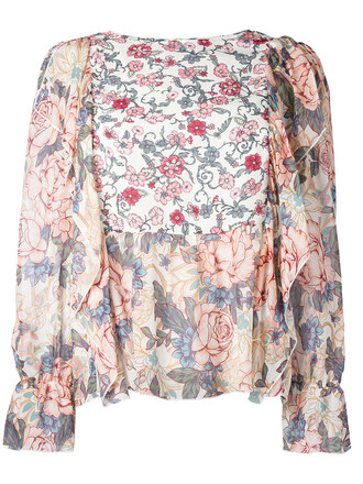 blouse women floral pink top