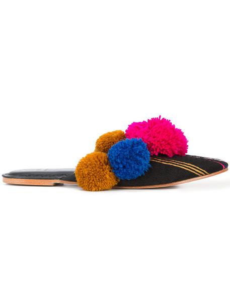 Figue women mules leather cotton black shoes