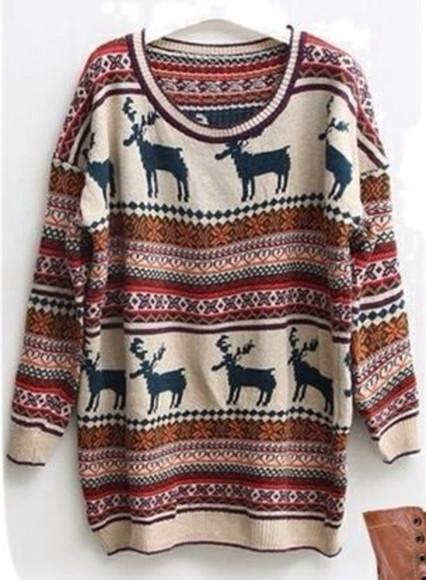 deer fall sweater snow fall outfits fall outfits tribal pattern aztec