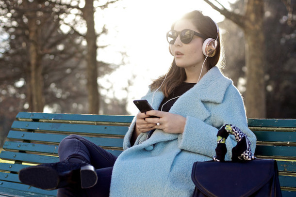 onto my wardrobe blogger blue coat boyfriend coat headphones winter coat