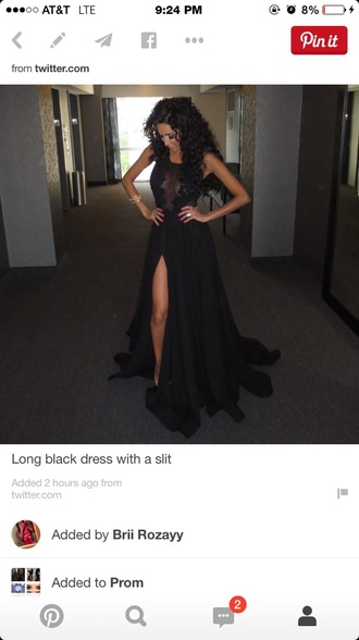 dress slit prom black dress long prom dress