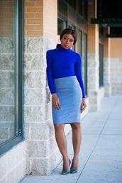 jadore-fashion,blogger,pencil skirt,blue top,high heel pumps,work outfits,black girls killin it