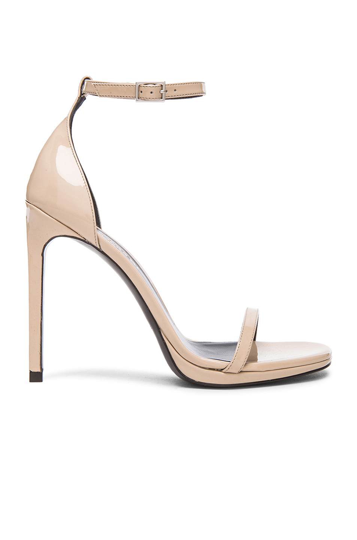 dd364b69889 Saint Laurent Jane Patent Leather Sandals in Poudre