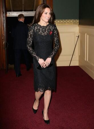 dress midi dress black dress lace dress kate middleton pumps