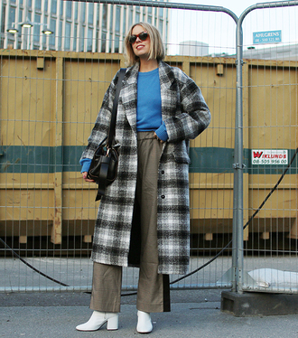 coat plaid coat tumblr plaid long coat sweater blue sweater pants wide-leg pants side stripe pants khaki khaki pants boots white boots
