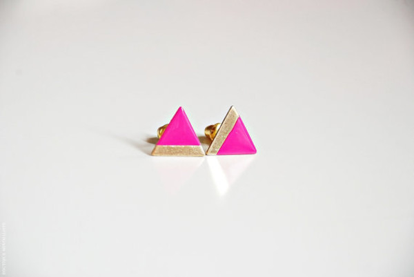 jewels pink gold jewelry triangle earrings
