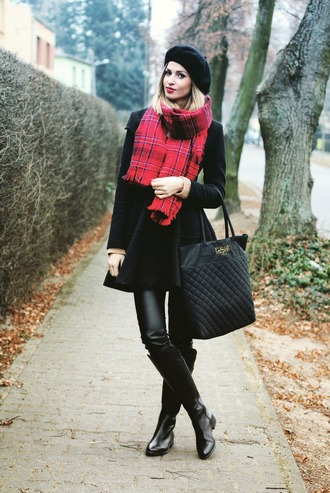 beauty fashion shopping blogger beret tartan scarf black coat leather pants tote bag black boots