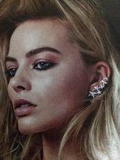 jewels,ear cuff,statement earrings,stars,silver earrings,margot robbie