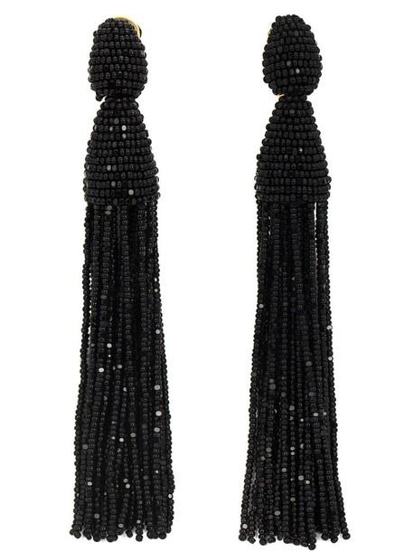 oscar de la renta women beaded earrings pendant black jewels