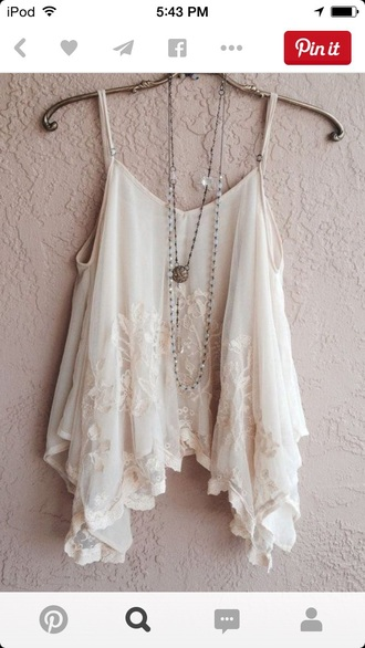 blouse tank white cream lace cute straps tank top