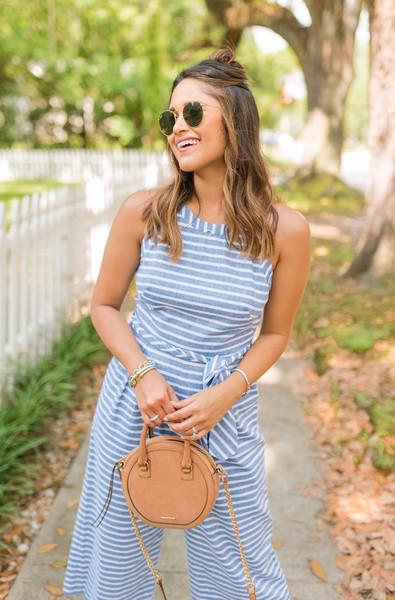 hauteofftherack blogger jumpsuit bag jewels striped jumpsuit