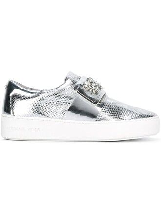 women sneakers leather cotton grey metallic shoes