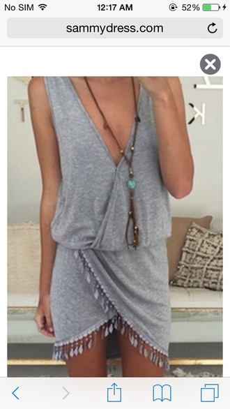 dress sexy sexy dress grey grey dress gray girly girl girly wishlist deep v neck dress plunge v neck sleeveless sleeveless dress style fashion short dress short fringes fringed dress asymmetrical asymmetrical dress summer dress summer cute dress deep v dress v neck dress