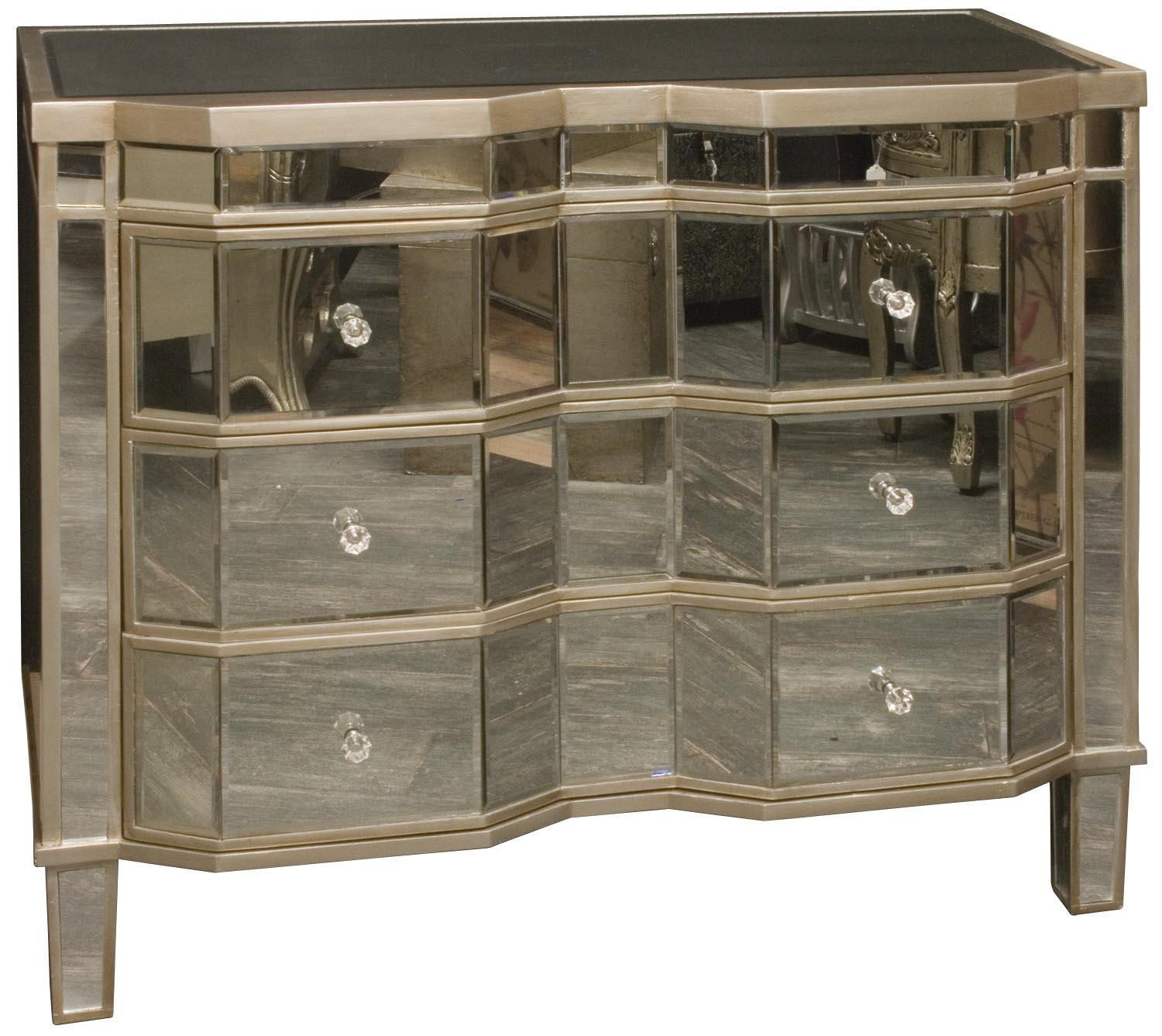 Opera silver mirrored 3 height chest