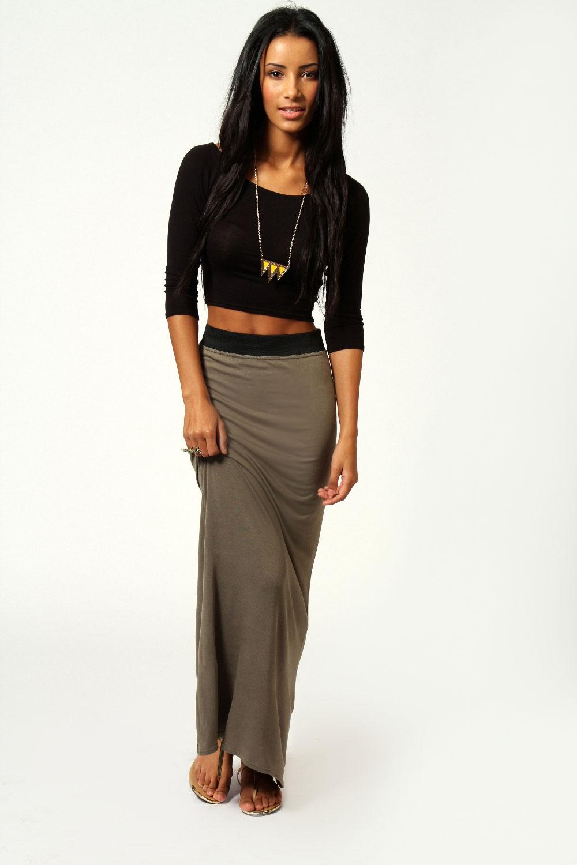 Helena Contrast Waistband Jersey Maxi Skirt on Wanelo
