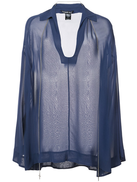 blouse sheer blouse sheer women blue silk top