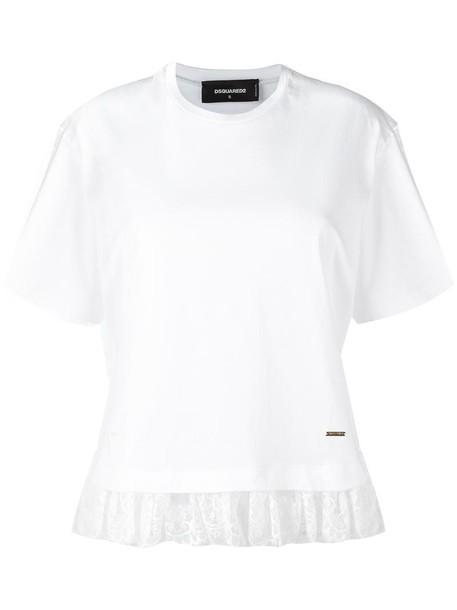 Dsquared2 t-shirt shirt t-shirt women lace white cotton top
