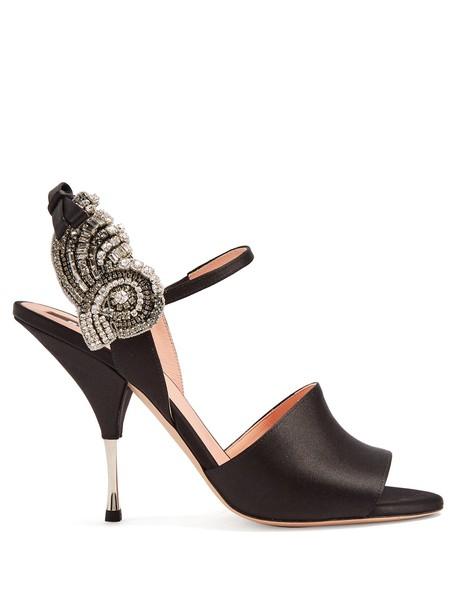 Rochas embellished sandals satin black shoes