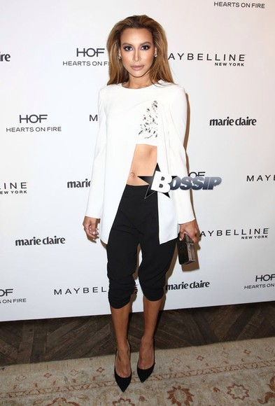 cute chic white sexy 2 piece shirt white blouse long sleeve shirt one piece naya rivera Glee white crop top