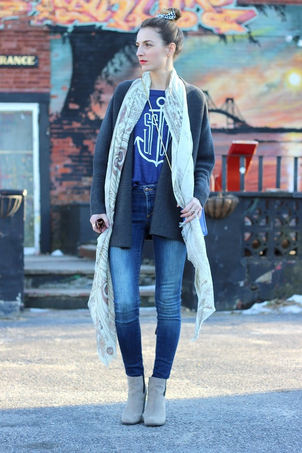 jess style rules sweater jeans bag scarf
