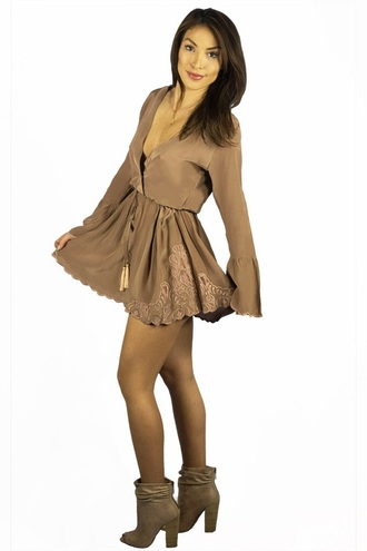 romper nude fashion style long sleeves brown fall outfits freevibrationz free vibrationz