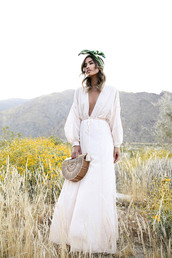 dress,tumblr,bandana,maxi dress,long dress,white long dress,v neck,v neck dress,plunge v neck,bag,basket bag,long sleeves,long sleeve dress