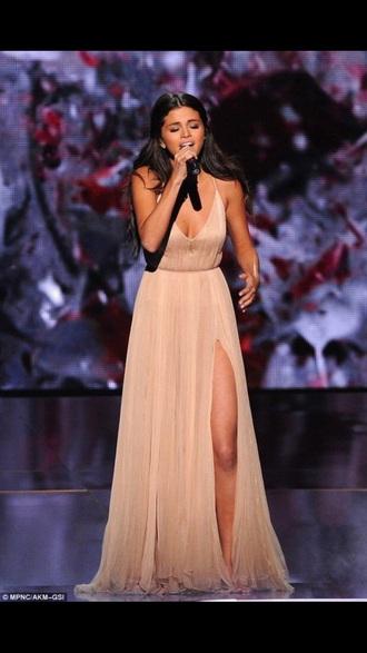 dress selena gomez long dress beige dress