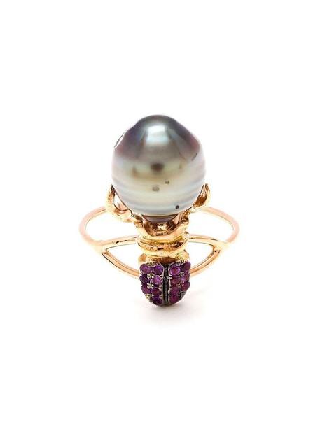 Daniela Villegas pearl ring gold pink purple jewels