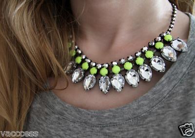 H m neon yellow necklace rhinestones bloggers fav