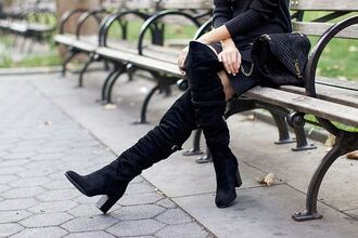 shoes tumblr black boots boots over the knee boots dress knitwear knitted dress black dress bag black bag ysl ysl bag all black everything suede suede boots