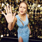 dress,blue dress,prom dress,cocktail dress,slit dress,party dress,light blue,lace up dress,brie larson,actress,awards
