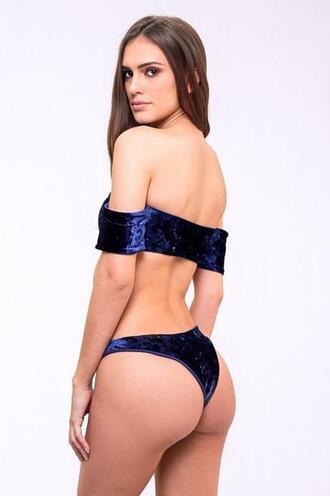 swimwear bikini bottoms blue cheeky dbrie reversible skimpy velvet bikiniluxe