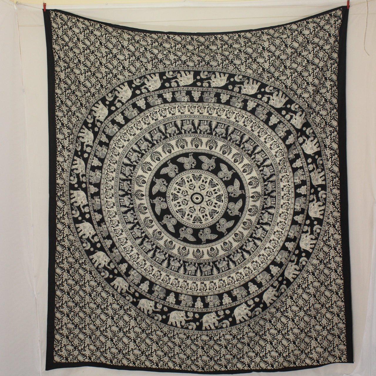 Elephant Tapestry Wall Hanging, Mandala Tapestry, wall Tapestry Black and white Indian Tapestry Dorm Bohemian Hippie Boho Wall Hanging decor