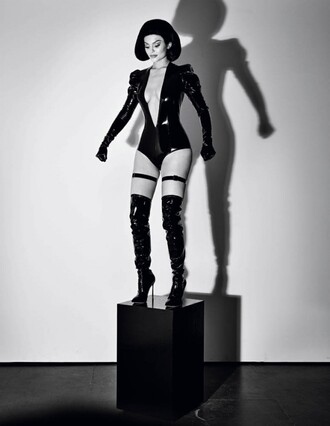 top bodysuit plunge v neck over the knee boots tight high boots kylie jenner editorial sexy latex pvc