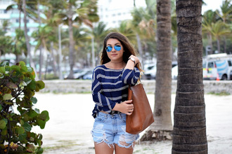 striped top denim shorts spring outfits madison lane blogger sunglasses