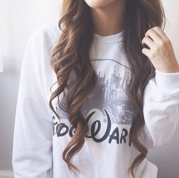 hair accessory etsy disney castle disney princess disney brunette hogwarts sweater hogwarts hogwarts sweatshirt white cream harry potter shirt grey t-shirt beautiful hair girl childhood young youth nice walt disney avada kedavra jacket blouse freshtops